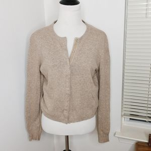 The Limited Tan Cropped Cardigan Sweater